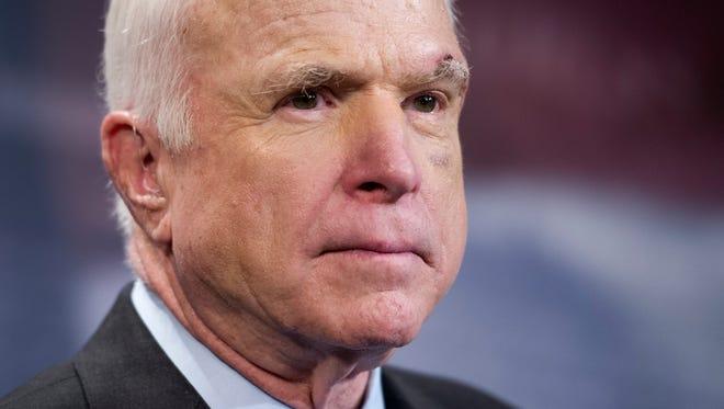 Sen. John McCain, R-Ariz., speaks on Capitol Hill on July 27, 2017.