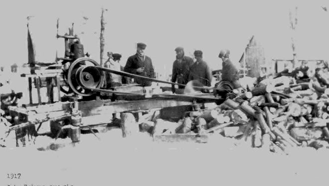 John Gohman's saw rig is shown in Clear Lake in 1917.