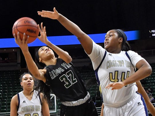 Arbor Tech's Adrienne Anderson (32) tries to get a