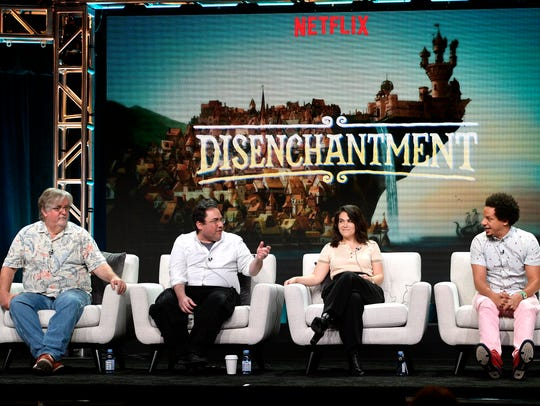 Executive producers Matt Groening, left, and Josh Weinstein and stars Abbi Jacobson and Eric Andre talk about Netflix's 'Disenchantment' Sunday at the Television Critics Association summer press tour Sunday.