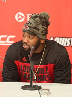 Louisville linebacker Keith Kelsey spoke to the media on why he decided to return to school and bypassing the NFL draft. Jan. 7, 2016