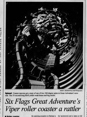 1995: The June 2, 1995 edition of the Asbury Park Press covered the opening of the Viper roller coaster at Six Flags Great Adventure.