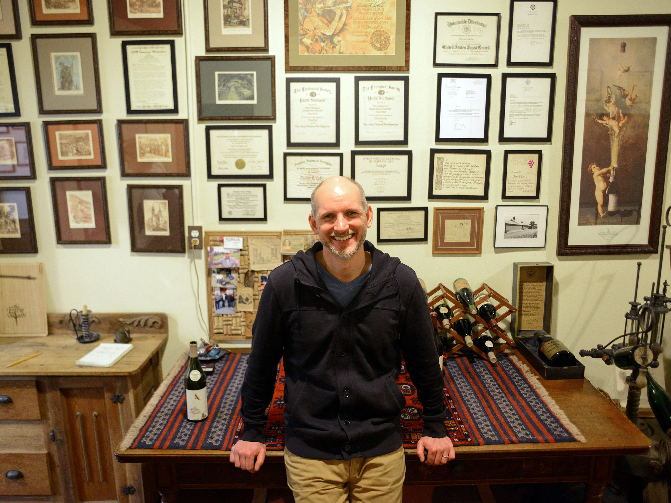 Jason Lett stands inside The Eyrie Vineyards' McMinnville
