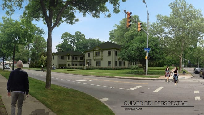 David Norbut is proposing to build five attached, single-family homes, split between two buildings, at the corner of Culver and East. This would be the view looking northeast from that corner.