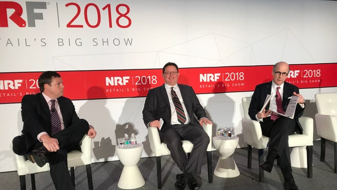 (l-r) Oppenheimer Analyst Brian Nagel, Conference Board Chief Economist Gad Levanon, and National Retail Federation Chief Economist Jack Kleinhenz expect the sales momentum from holiday 2017 to continue in 2018.