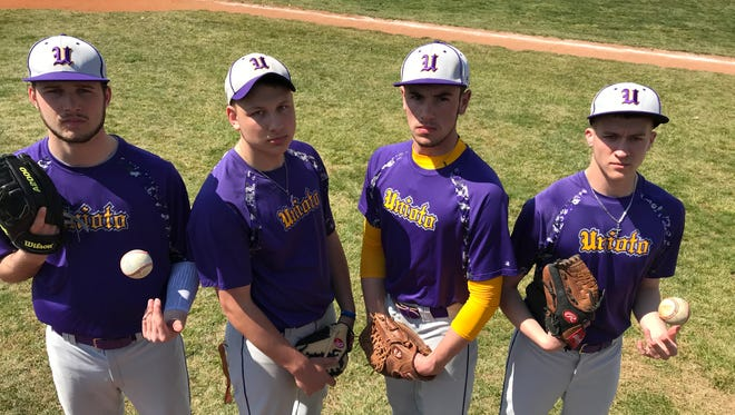 From left to right, Unioto's JD Blevins, Harley Patterson, Nick Ooten and Ryan Sigler are considered to be four of the best pitchers in the area.