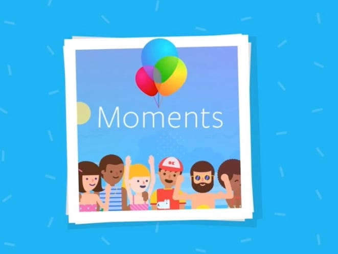 Facebook Moment is a powerful photo sharing and organizing app released on June 15, 2015 which includes facial recognition software to link names to photos.