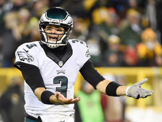 Eagles quarterback Mark Sanchez reacts after throwing an interception against the Green Bay Packers at Lambeau Field on Nov. 16. Philadelphia led the league in turnovers this season.