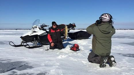 Adam Rasmussen with a walleye caught with Phil Schweik in January 2015.
