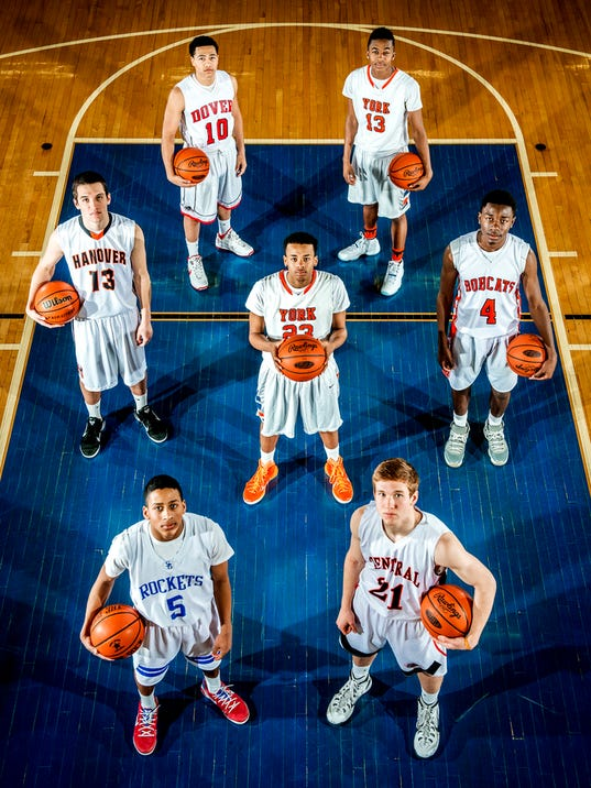 Front row, left to right: Spring Grove's Eli Brooks and Central York's Sam Saxton. Center row, left to right: Hanover's Dylan Krieger, William Penn's Jahaire Wilson and Norhteastern's Kobi Nwandu. Back row, left t oright: Dover's Ryan Beck and William Penn's Montrel Morgan. GameTimePA's all-star basketball players. Picture taken Sunday, March 15, 2015, at William Penn. Chris Dunn Ñ Daily Record/Sunday News