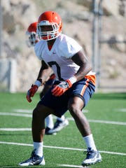 UTEP linebacker Kalaii Griffin applies the defensive pressure during  practice at Glory Field in August 2017, as the Miners prepared for their game in Norman, OK., against the University of Oklahoma.