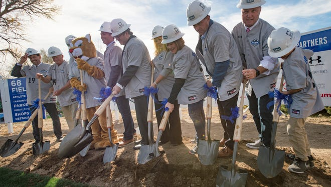 Project managers and officials break ground on the Rocky Mountain Sports Park on the site of the future facility in Windsor on Tuesday, October 24, 2017. The project, covering 490 acres, will have 68 fields for baseball, softball and other sports like soccer and football.