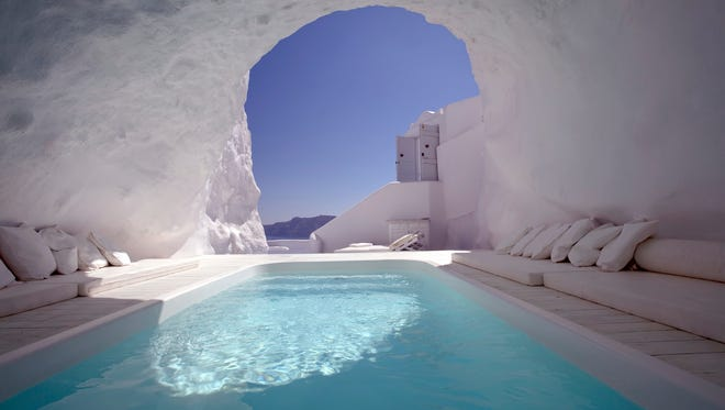 For a unique vacation try a stay in Santorini, Greece.