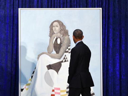Former President Barack Obama takes a look at former