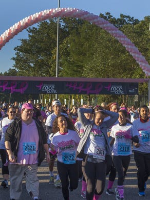 2014: Start of the men's and women's 5 K race at the 21st Annual Susan G Komen Race For the Cure at Six Flags Great Adventure on October 5, 2014.