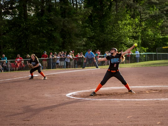 Kaitlyn Martin pitches during the softball game between Lexington High School and South Gibson High School at Guy B. Amis Park.