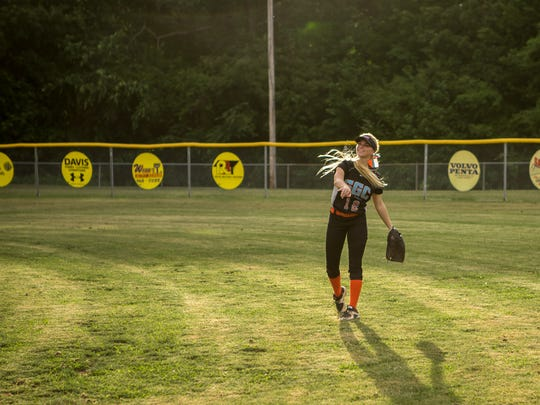 Sydney Dozier warms up in between innings during the softball game between Lexington High School and South Gibson High School at Guy B. Amis Park.