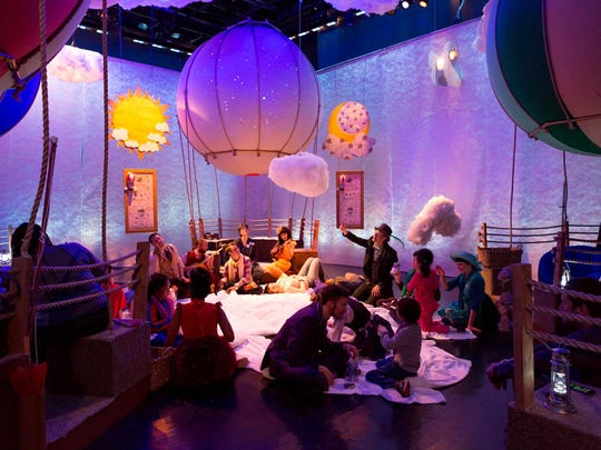 """At """"Up and Away,"""" a Trusty Sidekick Theater Co. production commissioned by Lincoln Center Education, audience members on the autism spectrum sit in oversized hot-air-balloon baskets, part of an immersive adventure."""