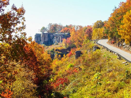 Fall colors blaze on the hillsides and throughout the gardens at Rock City Gardens on Lookout Mountain.