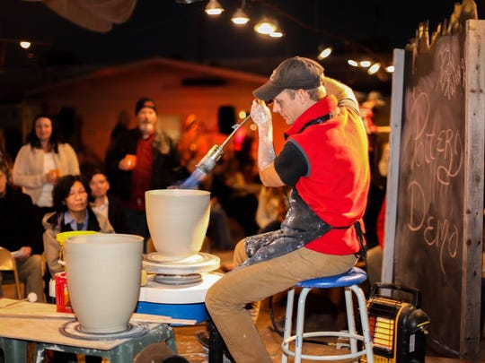 Artist Ben Twingley performs a pottery demonstration at a previous Hot Glass, Cold Brew. Today's event will be take place at 6 p.m. at the First City Art Center.