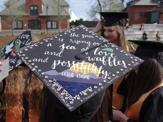 Message on a mortarboard of a Champlain College graduate.