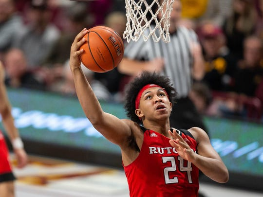 Jan 12, 2019; Minneapolis, MN, USA; Rutgers Scarlet Knights forward Ron Harper Jr. (24) shoots the ball during the second half against the Minnesota Golden Gophers at Williams Arena. Mandatory Credit: Harrison Barden-USA TODAY Sports
