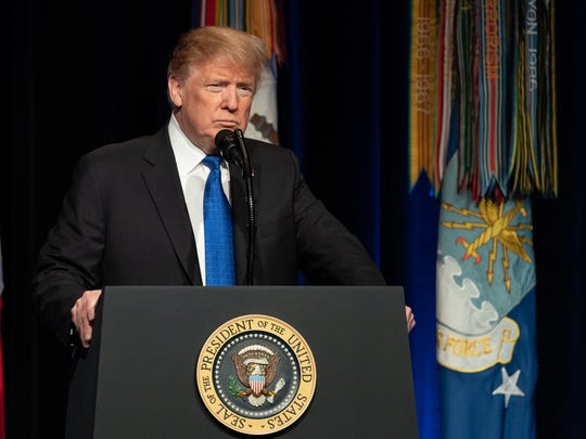 President Trump delivering remarks at the Pentagon from behind the presidential podium.