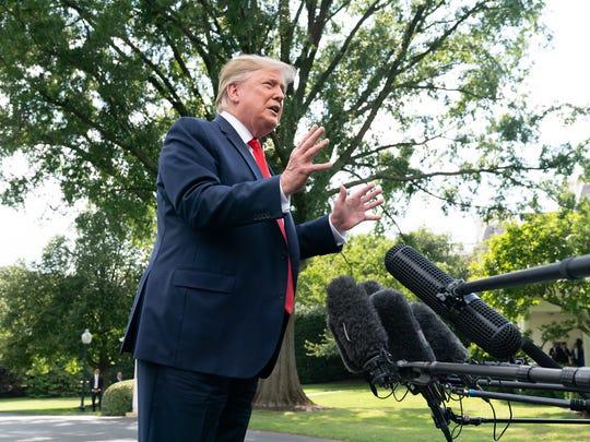 President Trump speaking to reporters.
