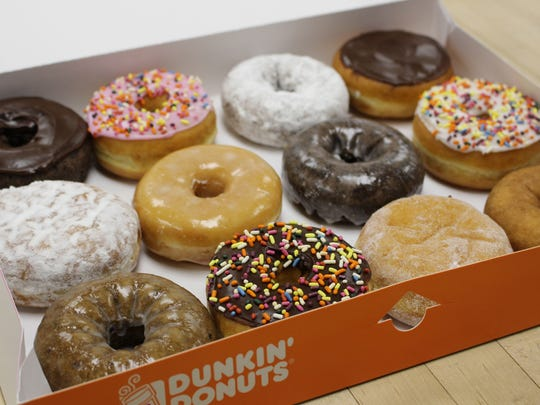 A box featuring an assorted Dunkin' Donuts treats.