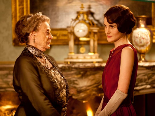 """Dame Maggie Smith, left, as Violet, Dowager Countess of Grantham and Michelle Dockery as Lady Mary in """"Downton Abbey."""""""