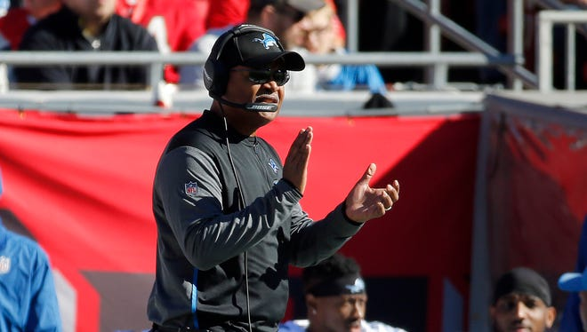 Dec 10, 2017; Tampa, FL, USA; Lions coach Jim Caldwell claps from the sideline against the Bucs in the first half at Raymond James Stadium.