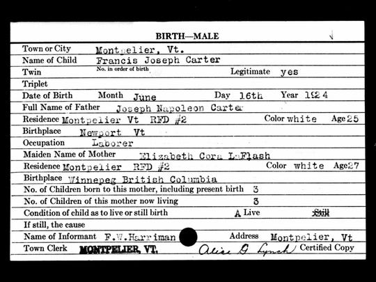 Francis Joseph Carter's birth certificate. In September 1924, his parents marry under the names Thomas Napolean Charest and Elizabeth Minor but change little about their parents names.