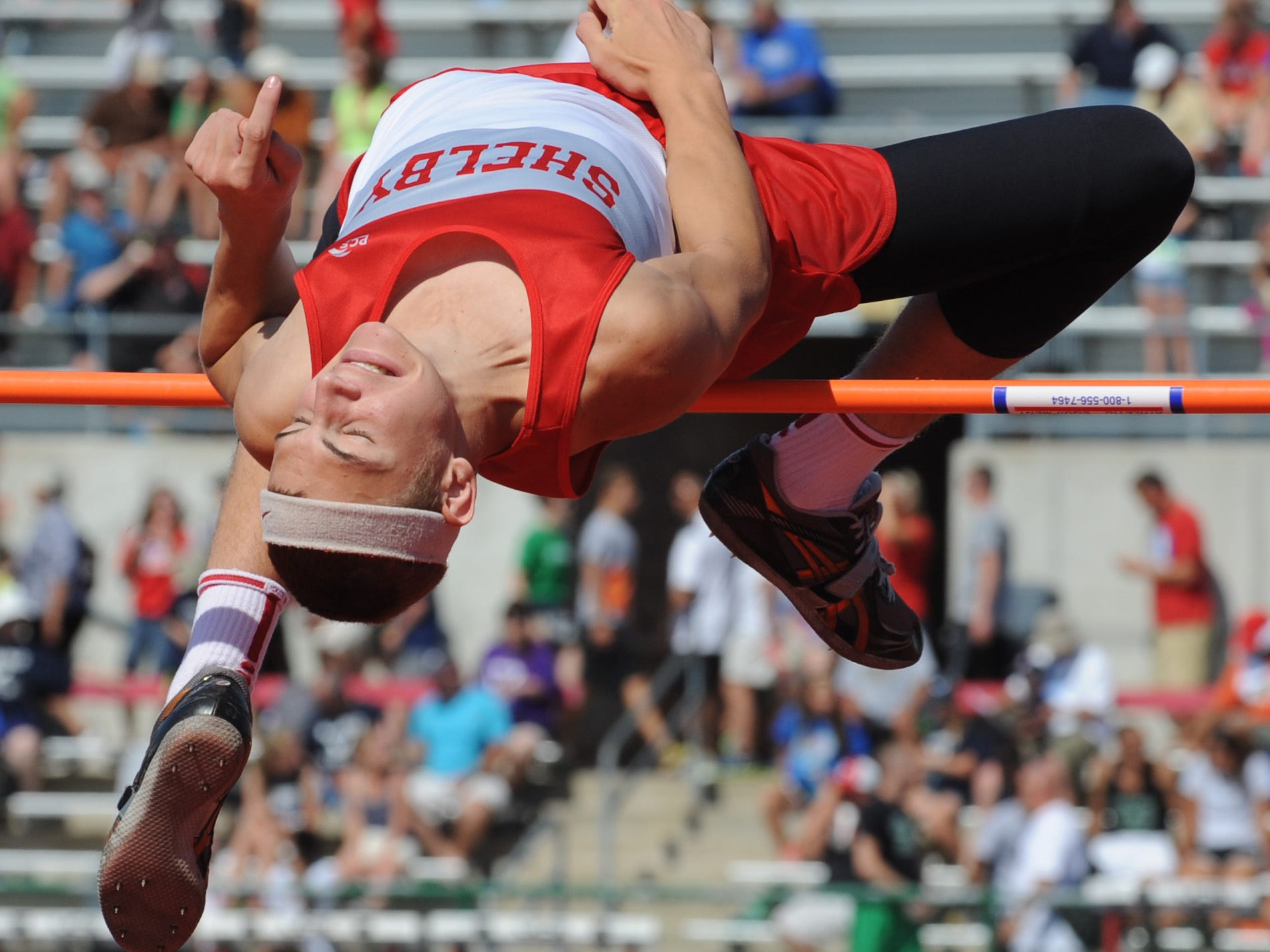 Shelby's Cody Stine is the reigning Division II-III state indoor champion and defending Mehock champ in the high jump.
