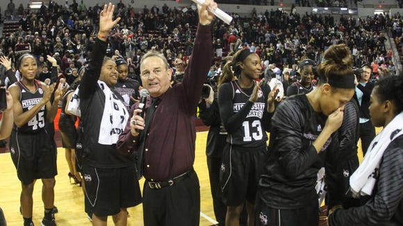 Mississippi State coach Vic Schaefer thanks the crowd after Senior Day at Humphrey Coliseum.