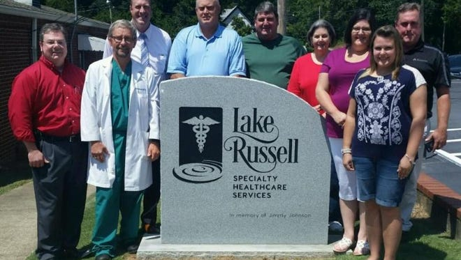 Shown from left to right are Dr. Louis Fernandez, (gynecologist), Dr. Stuart Babcock (general surgeon), Hospital CEO Brandon Clary, Foundation chairman Chris Smith, Greg Johnson, Shirley Johnson, Kim Johnson Rice, daughter Brooke Rice Shepherd and Immediate Past Foundation Chairman Paul Rainer.