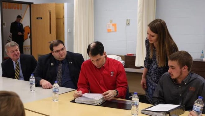 Students and faculty met with Wisconsin Gov. Scott Walker at Mishicot High School March 24.