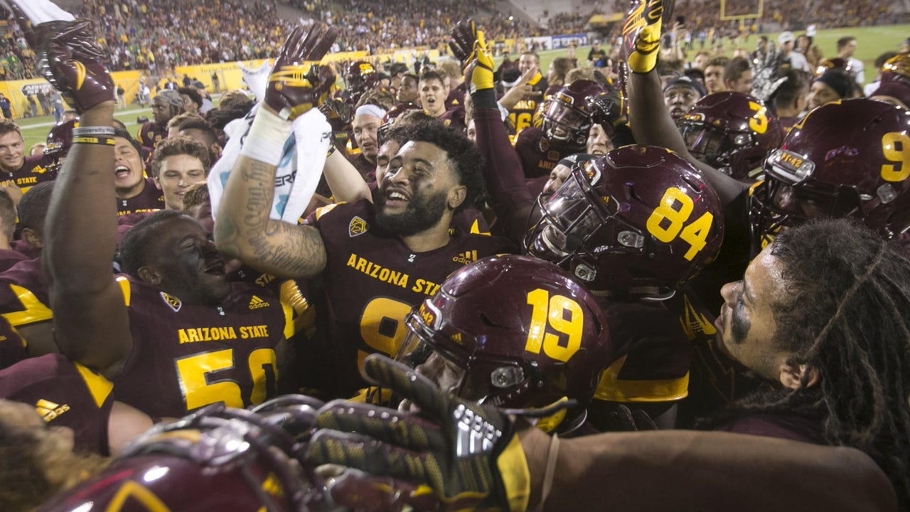 ASU football beat Oregon 37-35 behind strong performances from Kalen Ballage, N'Keal Harry and the Sun Devil defense.