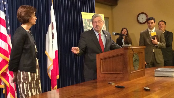 Iowa Gov. Terry Branstad responds to a question during his weekly press conference on April 28, 2014.