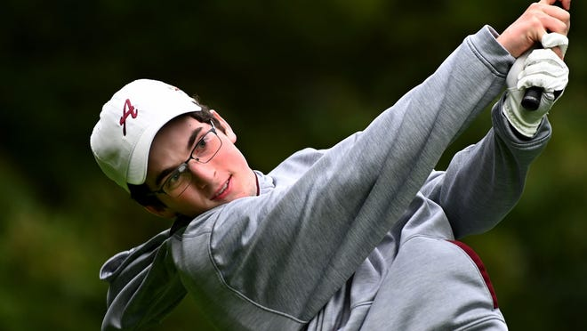 Algonquin's Jack Miller tees off during a match against Wachusett at Juniper Hill Golf Course in Northborough last season. The Tomahawks will play Wachusett on Wednesday in the Pod 8 finals at Bedrock Golf Course in Paxton.
