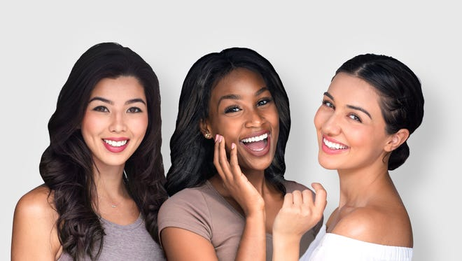 Group beautiful women people multiple ethnicity perfect smile white teeth lips skin mixed race multi-ethnic female friends having fun natural and laughing together