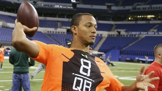 UCLA quarterback Brett Hundley, the Green Bay Packers' fifth-round draft pick, at the NFL combine in Indianapolis in February.