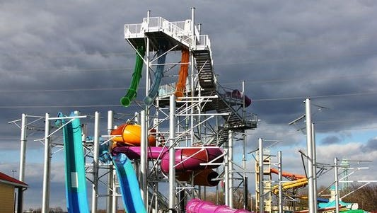 Tropical Plunge  is under construction ahead of its debut May 28 when Soak City Waterpark opens for the summer.