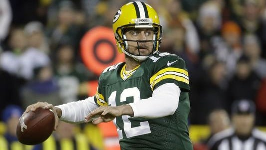 Green Bay Packers quarterback Aaron Rodgers (12) is coming off a game against Chicago in which he threw six touchdown passes, all in the first half.