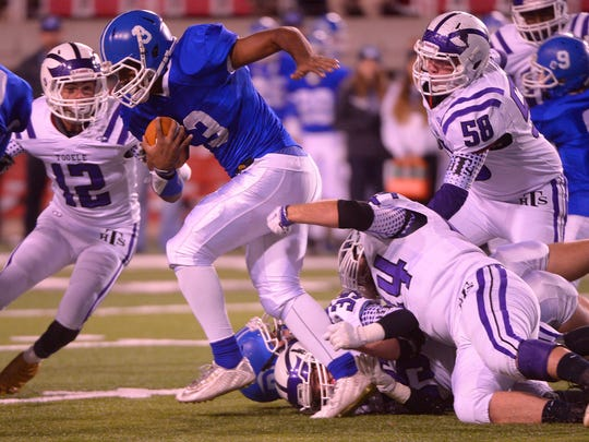Dixie's Tre Miller ran for 101 yards and two touchdowns in a 45-6 win over Tooele in the 3AA semifinal game last week.