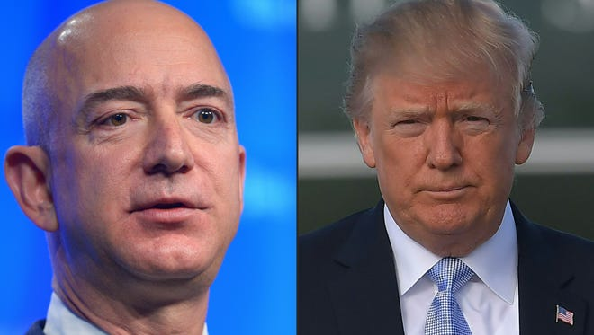 President Trump has attacked Amazon, owned by Jeff Bezos, at left.
