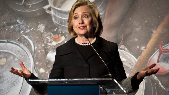 Hillary Rodham Clinton, former US Secretary of State, speaks during her keynote remarks at the Global Alliance for Clean Cookstoves  summit, Friday Nov. 21, 2014 in New York.  (AP Photo/Bebeto Matthews) ORG XMIT: NYBM108
