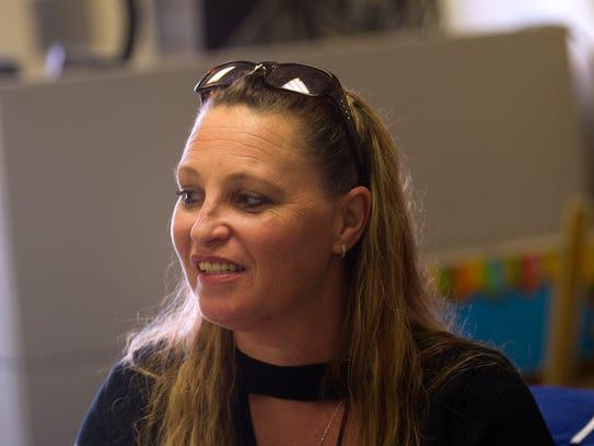 Teacher Kristine Alexander speaks during an interview last week at Charlie Y. Brown High School in Bloomfield.