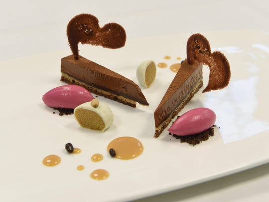 Chocolate and toasted pine nut cake, with cactus pear