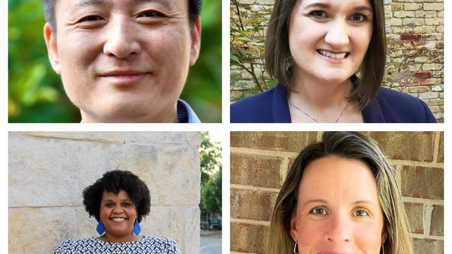 Jun Xiao (top left) won the Place 1 seat on the Round Rock school board. Mary Bone (top right) won the Place 2 seat, Tiffanie Harrison (bottom left) won the Place 6 seat and Danielle Weston (bottom right) won the Place 7 seat.