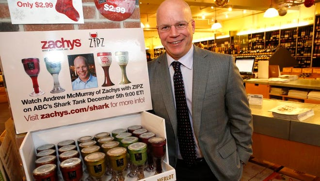 Zachy's Vice President Andrew McMurray at his store in Scarsdale on Dec. 9, 2014.  He secured the largest business deal in the history of ABCÕs ÔShark TankÕ of $2.5 million dollars pitching Zipz Wine, a portable, single servings of wine, packaged for retail in plastic vessels that feel like real wine glasses.
